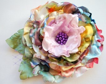 colorful silk rose, bridal flower corsage, sash, weddings accessories, bridal hair flower, bridesmaids hair clip, flower girl, autumn, fall