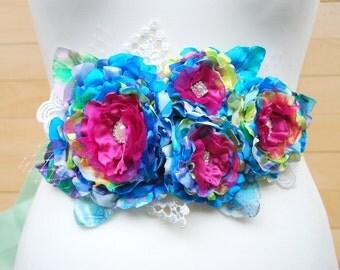 Fuchsia Pink Blue Bridal Flower Sash Belt, Weddings Accessories, Colorful Satin Sash, Bridesmaids Pink Blue Belt, Maternity Belt, Photo Prop
