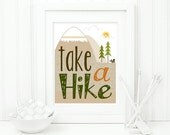 Take a Hike Poster: Summer Camping Print - Mountains, Evergreen Tree, Squirrel - Typography, Chevron, Stripes - Men - Brown, Orange 8 x 10