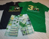 John Deere Tractor Boys Birthday Outfit Number Shirt Tank Onesie and shorts