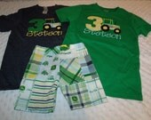 Tractor Farm Country Boys Birthday Outfit Number Shirt or Onesie and shorts