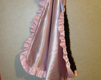 Baby Security Blanket Lovie Pink Satin & Black Minky 20x20