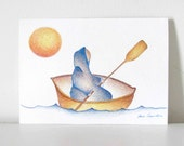 Row Your Boat - Small Original Drawing/Figure in RowBoat Paddling/Sun
