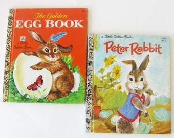 Vintage Easter Bunny Golden Books  Picture Books The Golden Egg Book Peter Rabbit Illustrated Set of Two