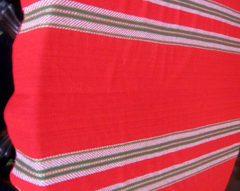 Vintage Christmas Tablecloth Woven Stripe Holiday Red Green Gold Metallic Wool Blend