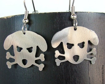 Outlaw Doggy Stainless Steel Earrings by WATTO Distinctive Metal Wear