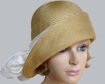 Gabby, Cloche flapper hat, womens parasisal straw millinery hat with white silk scarf