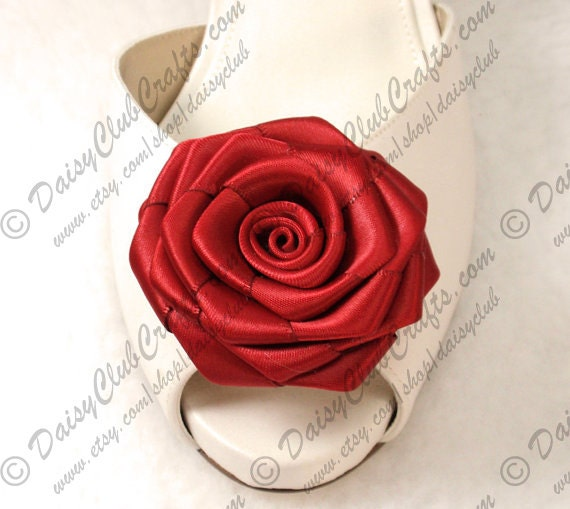 Red Rose Shoe clips, 1 Pair, 2 pieces, Weddings, Bridal, Flower Shoe clips, Red Ribbon Rose shoe clips, Made in USA