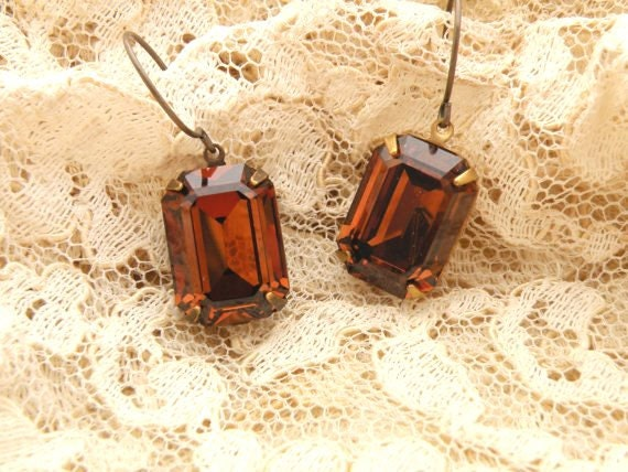 glass jewel earrings brown fall dangles rhinestone Swarovski shabby chic
