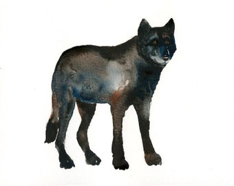 BLACK WOLF Original watercolor painting 10x8inch