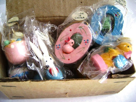Vintage Easter Ornaments, Miniature, Wooden, Easter Parade, Set of 14, Bunnies Ducks Easter Eggs, Pastels Holiday Decor Trees Package Tie On