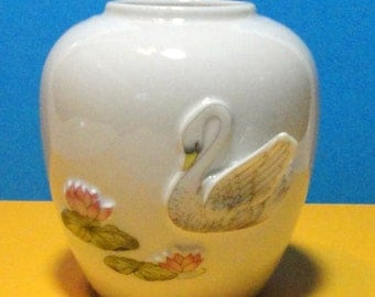 Gorgeous  Small Porcelain Flower Vase with 3D Swan and Water Lilies.