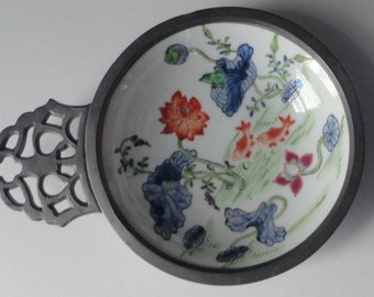 Canton Ware Porcelain Bowl with Pewter Frame and Handle.