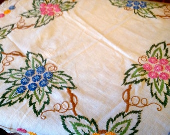 Vintage Hand Embroidered Tablecloth - Fabulous