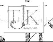 8x10 Wedding monogram Calligraphic (TM) RESERVE for Kelli