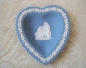 Vintage Collectible Porcelain Wedgwood Heart Blue Dish Ring Dish Made in England