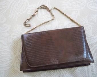 Vintage Handbag Purse Designer Ande Brown Faux Reptile Purse 1960's