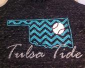 Baseball shirt chevron glitter oklahoma