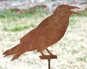 Crow garden stake - Rusted metal bird art - Raven flowerbed marker - Outdoor living accent - Crowing bird maker - Rustic steel crow