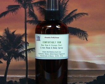 COMFORTABLY RUM Bay Rum & Orange Home Fragrance Spray- Handmade Natural Room Spary