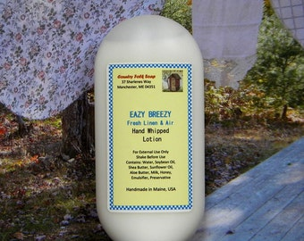 EAZY BREEZY Body Lotion - Fresh Linen Scented Lotion - Homemade Body Lotion
