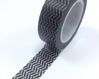 Washi Tape - 15mm - Black Chevron Pattern  - Deco Paper Tape No. 887