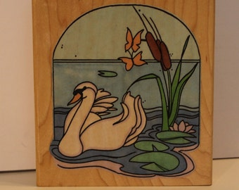 Swan Swimming in a Pond Rubber Stamp