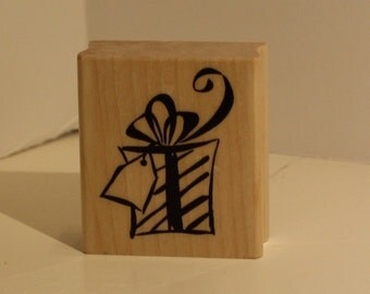 Striped Present with a Tag Rubber Stamp
