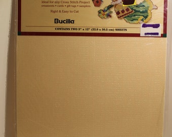 Bucilla 14 Count Perforated Paper Ecru with Bonus Garden Angel Pattern for Counted Cross Stitch