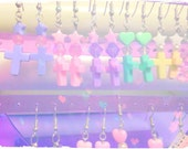 cross earrings fairy kei patel galaxy color of your choice