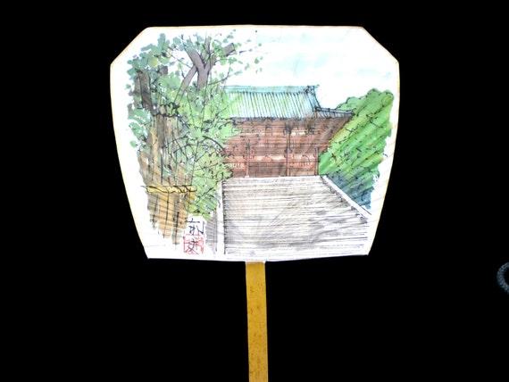 Japanese paper hand fan temple paddle fan by vintagefromjapan - Japanese paddle fan ...