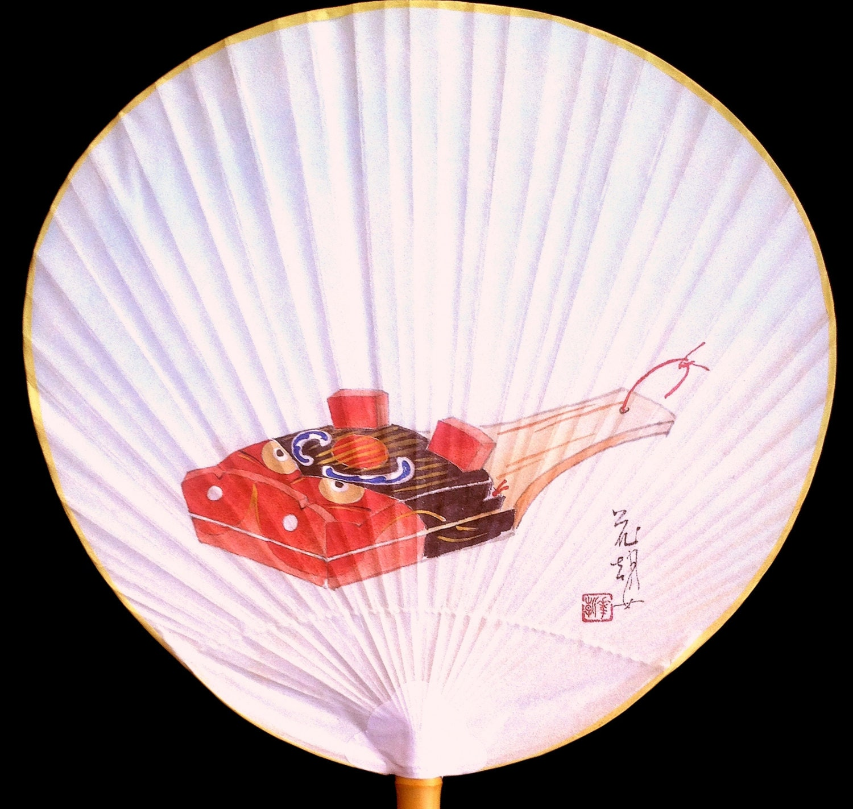 Japanese paper paddle fan uchiwa rigid fan by vintagefromjapan - Japanese paddle fan ...