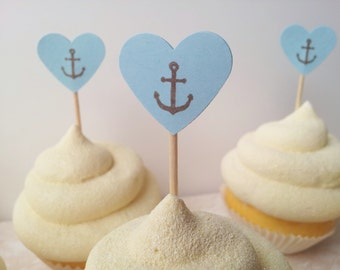 100 Mini Heart Anchor Wedding Cupcake Toppers, Beach Theme,Retirement Party, Birthday, Blue, Food Picks