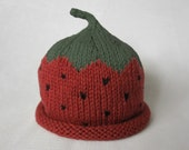 READY TO SHIP Knit Strawberry Organic Cotton Hat