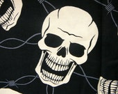 Cotton Fabric Black Skull Day of the Dead Steel and Bone Alexander Henery 2006