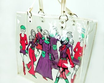 MOD Tote Merylynn Fashion Illustration Plastic Vinyl Groovy 1960s