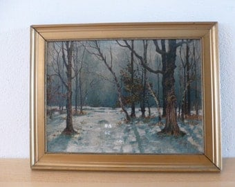 Handpainted picture Antique from Germany Forest in the Winter approx 1900 winterscenery