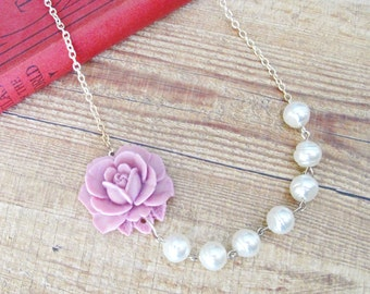 Pearl Necklace Lilac Purple White Asymmetrical Floral Rose Flower Botanical. Vintage Silver Candyland Range. Bridal Bridesmaid Handmade