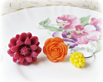 Girls' Ring Set Flower Children Trio Burgundy Marsala Red. Orange Yellow Summer Girls Party Favour Botanical. Floral Bonbonniere Handmade