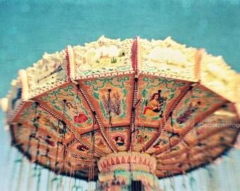 "Carnival photography, ""Swings"" fine art print, carnival, fair, ride,nursery,whimsical,aqua,yellow,fun,summer home decor"