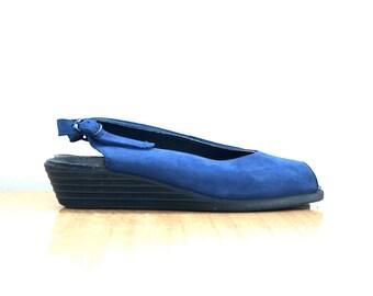 SALE / Blue Suede Wedge // German Vintage // 7.5