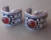 Sterling Silver Carnelian hoop stud Earrings / silver 925 /  Balinese handmade jewelry