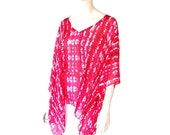 Fuchsia Tie-Dye V-Neck Poncho, Tunic, Caftan Swing Top with Long Scarf and Flowing Kimono Sleeves