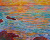 Ocean Sunset Art 11x19 Impressionist Oil Pastel Painting by Award Winning Artist Kendall Kessler
