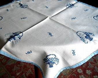 Vintage HAND MADE and Embroidered tablecloth detailed blue work BASKETS Blue Hem