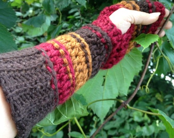 Long Fingerless Gloves, Arm Warmers, Alpaca and Silk, Two-Tone, Brass, Cranberry, Chocolate