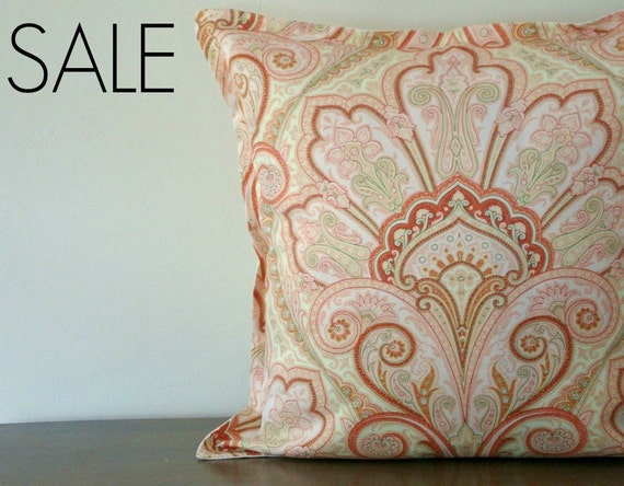 SALE - 20% off! Euro Sham Pillow Cover Moroccan Design in Peach, Coral, Green 26x26 inch (66 cm)