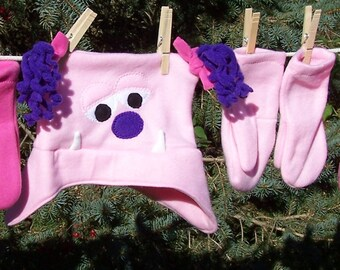 Monster Hat Light Pink Monster Fleece Hat with Purple or Hot Pink Ponytails Two Eyes Toddler Kids Child Teen Adult with Matching Mittens