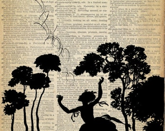 Papercut Art - Fairy Tale Print - Girl and Bird  - Woodland Whimsical Silhouette - Elegant Nursury Art Vintage Fairy Tale