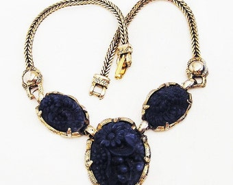 Lapis Carved Floral Necklace Looks Like Selro